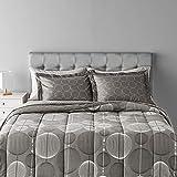 Amazon Basics 7-Piece Lightweight Microfiber Bed-In-A-Bag Comforter Bedding Set - Full/Queen, Industrial Gray