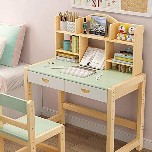 DSHUJC Massivholz Höhenverstellbare Kinder Schreibtisch und Stuhl Set Student Schreibtisch mit ausziehbarer Schublade Aufbewahrung, Federmäppchen, Bücherständer |Kids