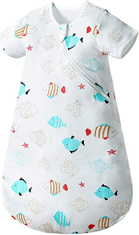 Enrich YLife Baby Organic Cotton Gauze Wearable Blanket Short Sleeve Summer Sleeping Bag