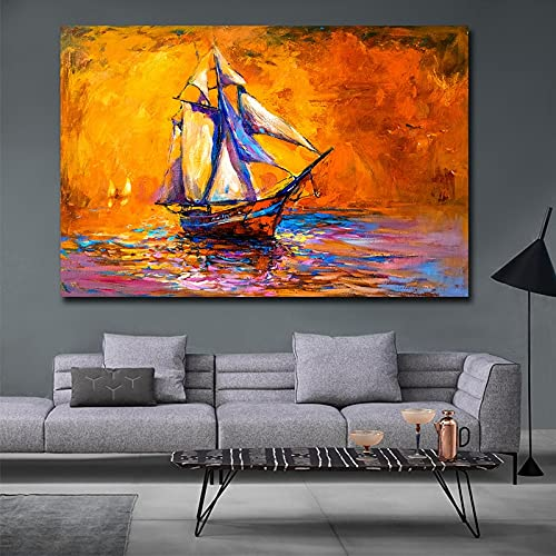 Modern Sailboat Seascape Canvas Paintings Posters Prints Living Room Decoration Wall Art Picture Bedroom Home Decor 60x80 CM (sin marco)