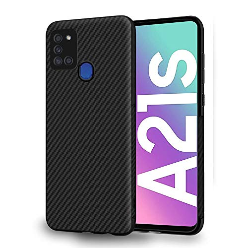 ebestStar - kompatibel mit Samsung Galaxy A21S Hülle Kohlenstoff Design Schutzhülle, TPU Handyhülle Flex Silikon Hülle, Schwarz [A21S: 163.7 x 75.3 x 8.9 mm, 6.5'']