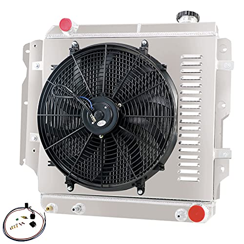 Cubauto 4 Rows Radiator+Shroud Fan+Thermostat Compatible For 1987-2006 Jeep Wrangler TJ YJ GM Chevy V8 1988 1989 1990 1991 1992 1993 1994 1995 1996 1997 1998 1999 2000 2001 2002 2003 2004 2005