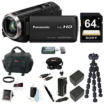 Panasonic HC-V180 HD Video Camcorder 64GB Card + 2 Batteries w/Charger Kit by Panasonic