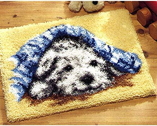 Kit de alfombra de gancho de pestillo Conjunto de bordado de bricolaje Impreso con perros Patrón de animales Handcraft Alfombra de ganchillo para niños Casa de adultos Actividad 20.5''x 15 '', a