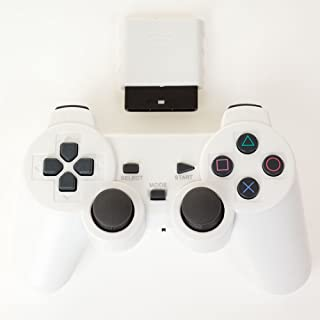 Bowink Wireless Gaming Controller for Ps2 Double Shock - Solid White