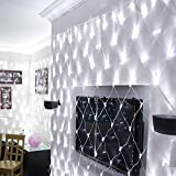 IMAGE 300 LED Net Mesh Fairy String Light 8 Modes Flashing with Memory Function Lighting 14.8x5 Foot for Wedding Party Backdrops Garden Tree Waterproof UL Safety Standard White
