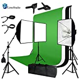 LimoStudio Photo Video Studio Four Light Head Continuous Lighting Softbox Boom Stand Kit with White Black Green Muslin Backdrop, AGG1459