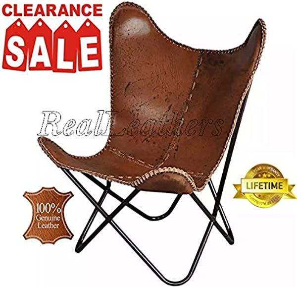 Iron Powder Coated Folded Frame Genuine Leather Butterfly Chair Antique Brown