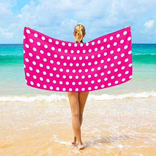 Ahomy Toalla de playa de microfibra con lunares coloridos y grandes, toalla de viaje ultra absorbente de secado rápido para hombres, mujeres y niños