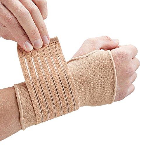 Actesso Elastische Handgelenkbandage für Gelenkschmerzen - (Beige oder Schwarz). Handbandage für Handgelenksverstauchungen, RSI, Sehnenscheidenentzündungen und beim Sport - Rechts oder Links tragbar (Mittelgroß Beige)