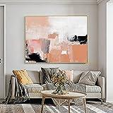 Cuadro de póster Arte abstracto Naranja Obra de arte original Negro Pared moderna Pintura abstracta brillante Sala de estar con textura colorida 50x70cm sin marco