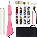 Junenoma Applicatore Hotfix, Fai da Te Hot Fix Strass Applicatore Setter Tool Kit con 7 Diverse Dimensioni Punte, pinzette e Spazzola di Pulizia Kit e 2 Pack Hot-Fix Rhinestones di Cristallo Pink