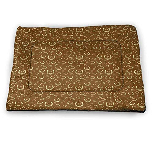 prunushome Western Dog Bed Kennel Pad Horse Shoe Motif Vintage Pattern with Star Symbol Barn Lucky Charm Design Brown Pale Yellow (35'x23')