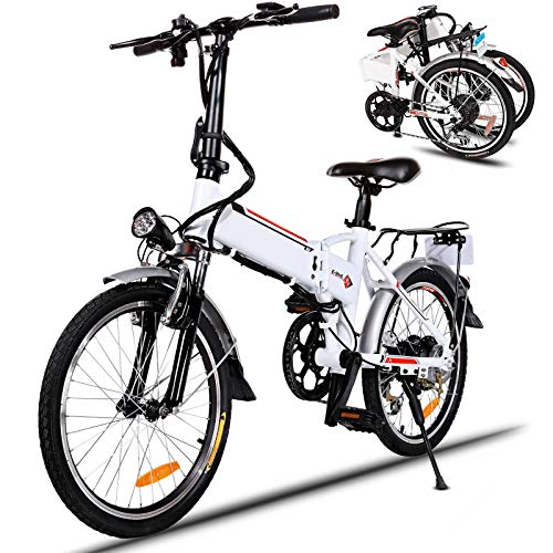 20 inch Electric Bike for Adults Folding Electric Bicycle with 36V 8Ah Lithium-Ion Battery 7 Speed Gears 250W E-Bike (White)