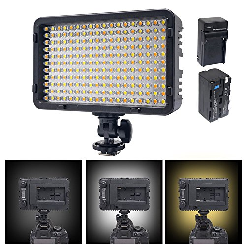 Venidice LED-198B Camera/Camcorder Light 198 Bi-Color LED Video Lighting Kit(3200K-7500K, 980LM) LED Video Light with NP-F750 Battery + Charger for Canon Nikon Sony and Other DSLR Cameras