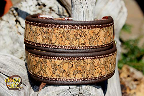 Hundehalsband Kork Leder Braun Gold Glitzer Halsband Klickverschluss Rose-Gold