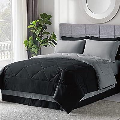 Bedsure Bed in A Bag Comforter Sets Black/Light Grey Queen Size - Microfiber Reversible Bedding Sets 8 Pieces (1 Comforter, 2 Pillow Shams, 1 Flat Sheet, 1 Fitted Sheet, 1 Bed Skirt, 2 Pillowcases)