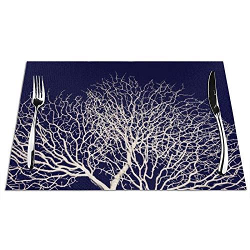 Manteles individuales de mesa resistentes al calor, lavables y de PVC, diseño de árbol de mar blanco tropical, coral en azul marino, playa, juego de 4 manteles individuales