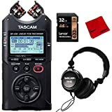 Tascam Portable Four-Track Digital Audio Recorder (DR40X) with Accessories Bundle