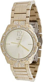 Sunex watch for women, analog, stainless steel, gold, golden dial, S6510GG