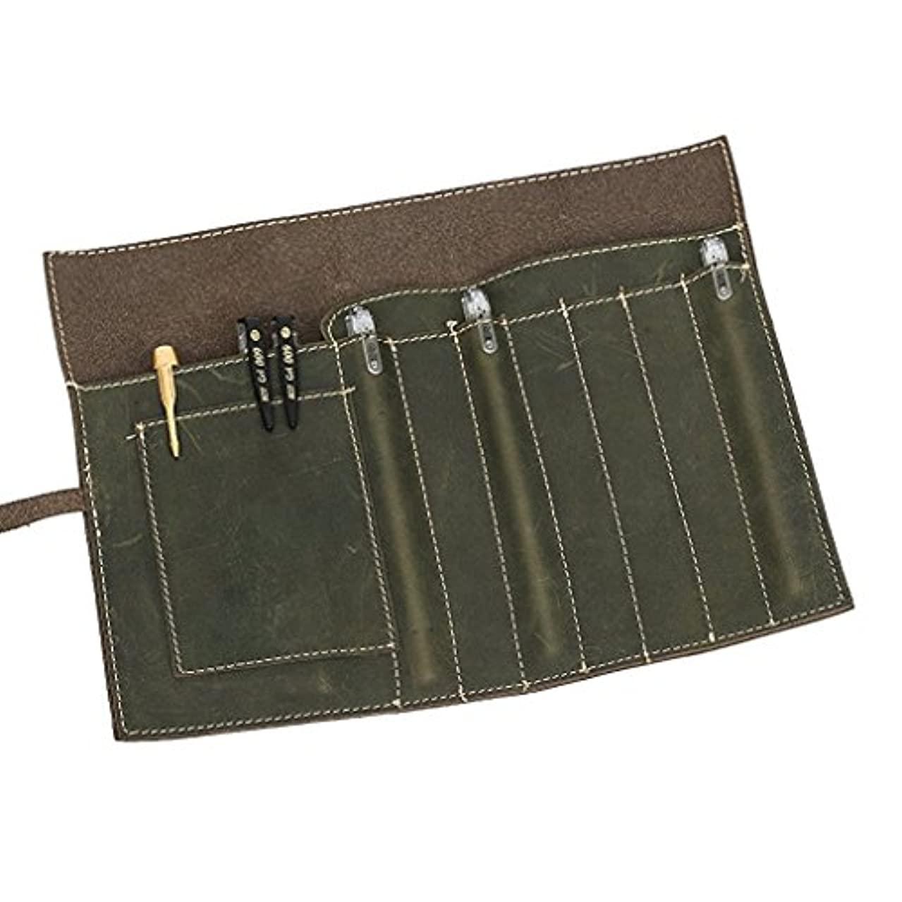 Leather Pencil Case, Art Pencil Pouch for Men, Leather Art Brushes Tool Roll, Pen Roll, Pen Holder Organizer for Art Pencils, Pens, Brushes, Soft Wrap Bag Stationery Gift for Students