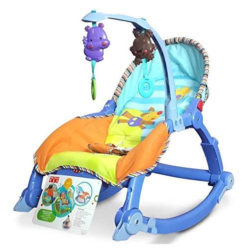 JCSW Balancin Bebe Columpios Infantiles, Vibraciones Relajantes, Hamaca Bebe con Sistema Balancín y Reductor, Cosas para Bebes Columpio Bebe de 0 a 18 kg, Azul, G003JY (Color : Blue)