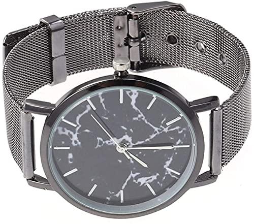 ZFAYFMA Reloj de Moda, Reloj de Moda, Banda de Malla de aleación de Cuarzo Mármol Mirror Mirror, Creativo Elegante Reloj Casual Simple Negro Black