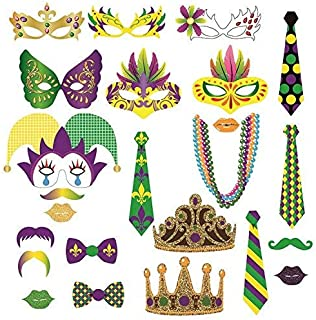 Mardi Gras Photo Booth Party Favor Kit,Masquerade Carnival Mardi Gras Photo Booth Props DIY Kit for Wedding, Birthday, Party - DIY photo booth Fun Accessories, 24 Pack