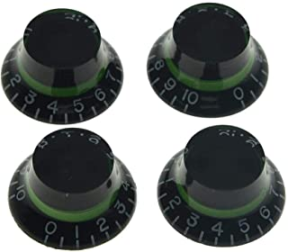 Dopro 4pcs Metric Custom Bell Knobs Top Hat Knob Black with Green for Epiphone Les Paul/Import Guitar Bass w/Coarse 5.8mm Split Pots
