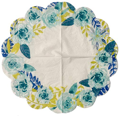 Spring Fling Blue Floral Scalloped Die-Cut Edge Luncheon Paper Doily Napkins, 16 ct