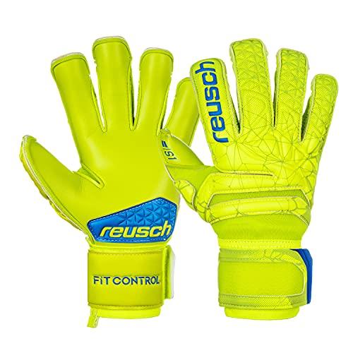 Reusch Fit Control SG Extra - Guanti da portiere da uomo, colore: Lime/Giallo di sicurezza, 10