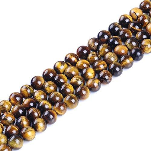 AAA oro amarillo rojo azul verde rosa Multi cuentas de perlas de piedra natural de Ojo de Tigre Gemstone sueltos para fabricación de joyería 6 mm 8 mm 10 mm 12 mm por ruilong, Amarillo, 8