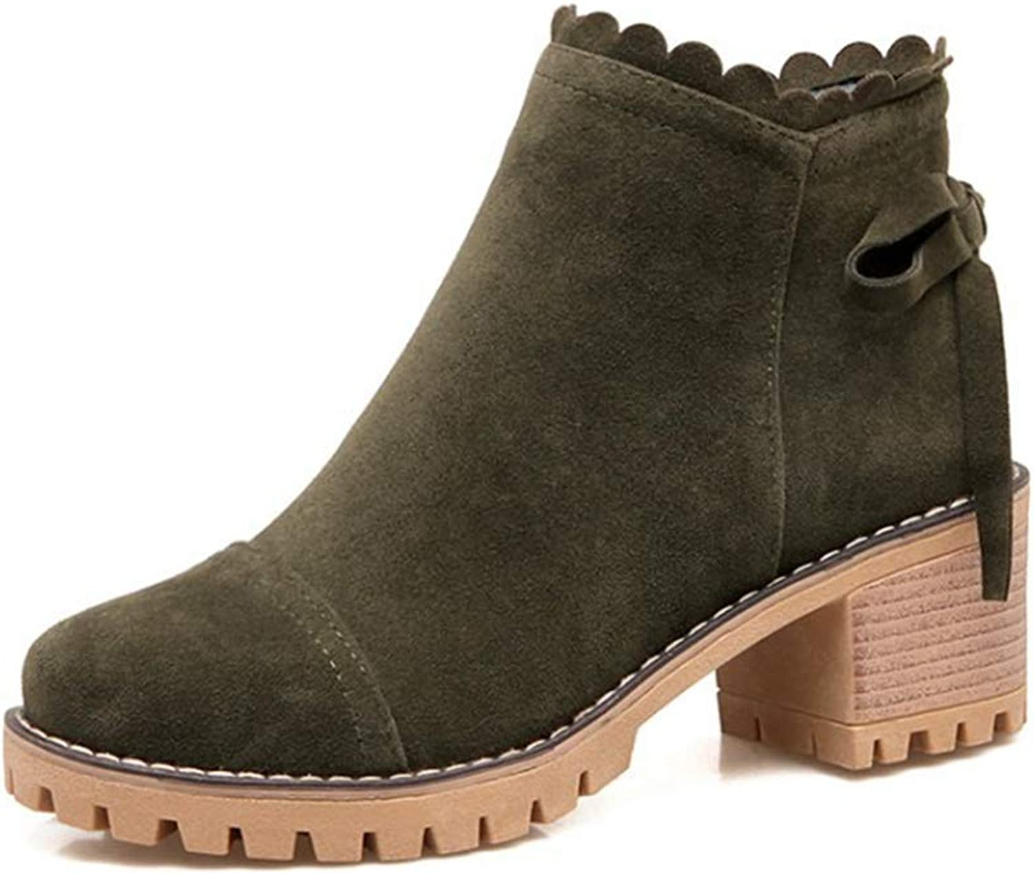 York Zhu Women Boots,Non-Slip Round Head Thick Heels Short Ancle Boots Leisure shoes