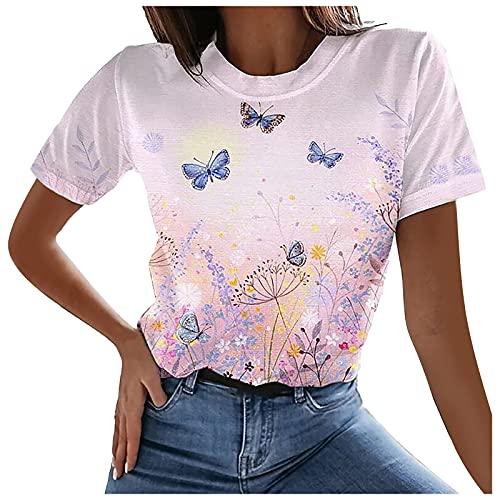 Camiseta de manga larga y corta para mujer, color negro, gris, azul, blanco, camiseta larga para verano, básica, de manga corta, holgada, informal, cuello en V, botones morado L