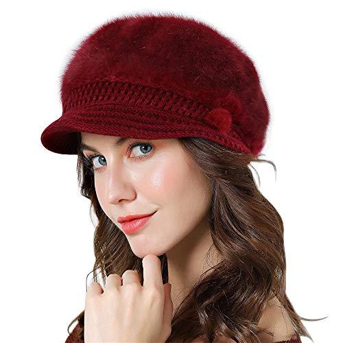 Genfien Sombrero para Mujer Boina de Punto Gorro Vendedor de Periódicos Grueso Elegante Ligero Crochet Vintage Moda Vida Cotidiana Otoño Invierno