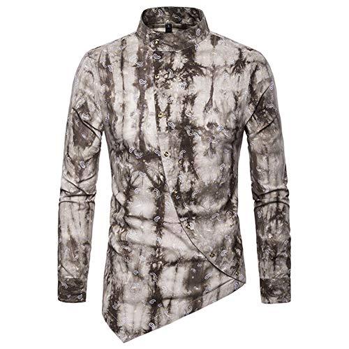 Yffksse Irregulär Langarmhemd Männer Hemd 3D Gedruckt Button-down Kleidung,B,S