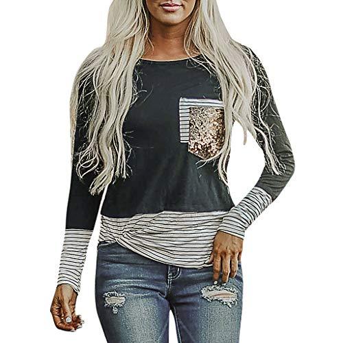 LINYIOU77 Womens Blouse Fashion O-Neck Stripe Sequin T-Shirt Ladies Long Sleeve Glitter Tops (Gray,XL