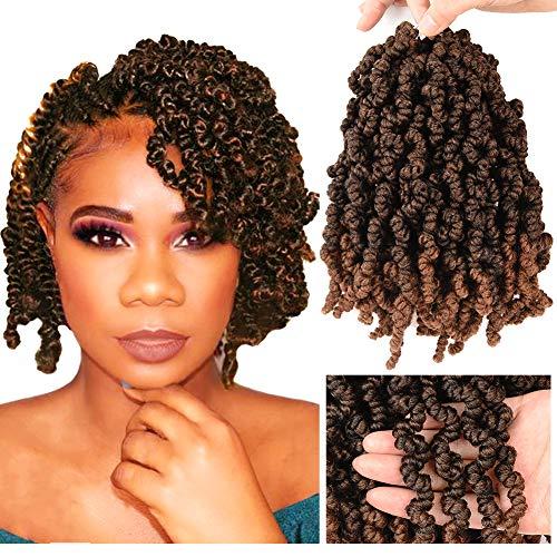 Short Curly Spring Twisted Crochet Braids hair 4 Packs 10 Inch Pre-looped Bomb Twist Braiding Kinky Ombre Colors Twist Crochet Braids Hair Extensions(T1B/30)