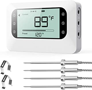 BFOUR Wireless Meat Grill Thermometer, Bluetooth Digital Wireless Meat Thermometer for Grilling Smoker BBQ Oven Kitchen Cooking with Stainless Probes, Phone App Remote Control (White 4 Probes)