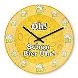 Lustige Wanduhr mit Motiv - Oh! Schon Bier Uhr! - aus Echt-Glas | runde Küchen-Uhr | große Uhr...
