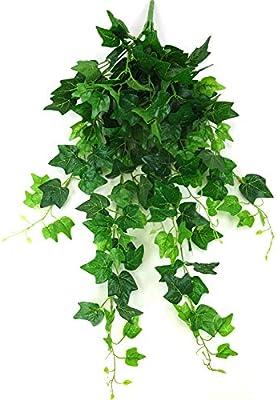 TONVER Flores Artificiales Rat/án Colgante de Pared Verde Hojas Decorativas Pl/ástico Flores para Hogar Sala Jard/ín Balc/ón Decoraci/ón sin Cesta