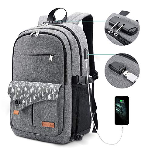 Lekesky Laptop Backpack for Women Anti-theft Laptop Travel Backpack 15.6 Inch with USB Charging Port and Lock for College School Student Bookbag Casual Hiking Daypack, Grey