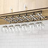 Modern Black Metal Wire Under Cabinet Stemware Wine Glasses Hanger Organizer Storage Holde...