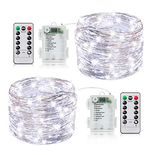 2 Pack 33FT Fairy Lights Battery Operated with Timer and 8 Mode Remote Control, 100 LED Waterproof Firefly String Lights for Bedroom Indoor Outdoor Wedding Dorm Christmas Decor, Pure White
