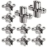 OrdLive 10 Pcs Hidden Door Hinge, Zinc Alloy Concealed Cross Hinges, 180 Degree Invisible Swing Hinge for Wooden Box and Cabinets, Screw Mounted (Pack of 5 Pair)