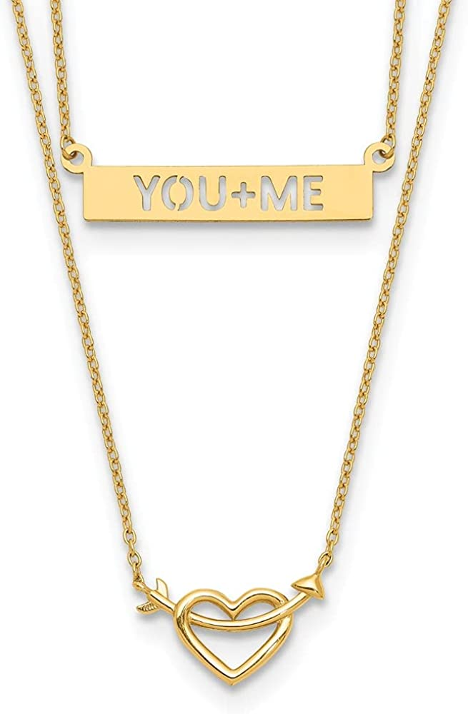 14k Yellow Gold Two Strand Heart You+me Bar Chain Necklace Pendant Charm Multi Layer Fine Jewelry For Women Gifts For Her