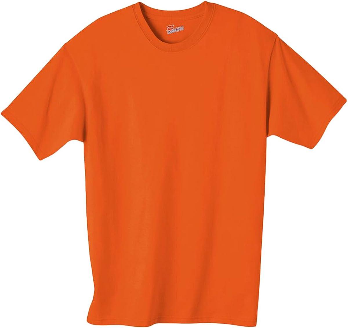 Hanes Authentic TAGLESS Boys' Cotton T-Shirt_Orange_S