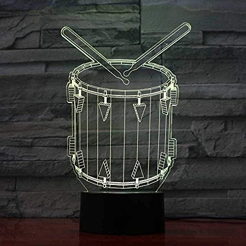 A-Generic Lámpara de ilusión 3D LED Tambor de luz Nocturna con 16 Colores para decoración Instrumentos Musicales Lámpara de Mesa óptica Los Mejores Regalos de cumpleaños para niños