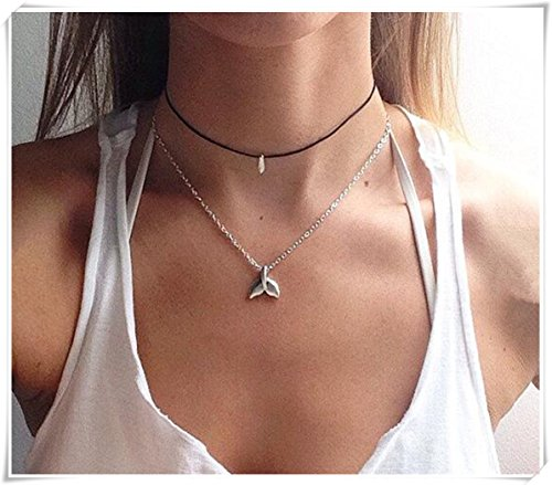 Whale tail silver tone necklace