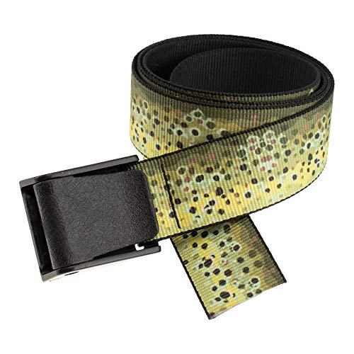 Thomas Bates Titan Outdoor Hunting Fishing Pattern Web Belt 5 Year Guarantee Made in the USA (Brown Trout Texture, Adult Size)